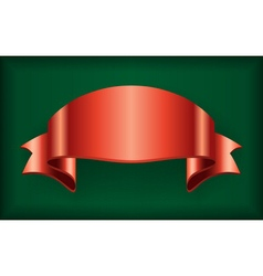 Red ribbon satin bow blank banner green vector