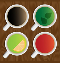 Set of coffee and tea cups on a wooden table top vector