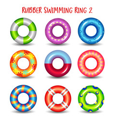 Set of rubber swimming rings with geometric paints vector