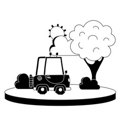 Silhouette agrimotor car in the city with tree and vector