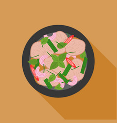 spicy and sour beef salad in thai style vector image