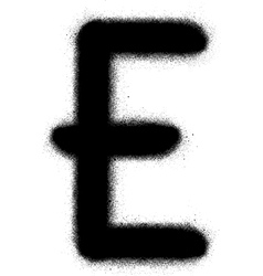 sprayed E graffiti font in black over white vector image