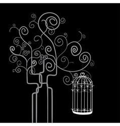 Swirl tree bird cage vector image