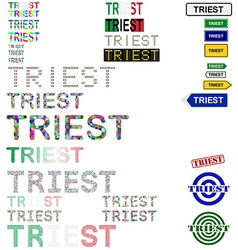 Triest text design set vector