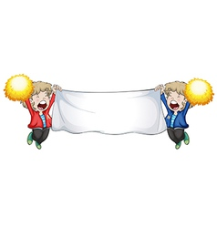 Two boys holding an empty banner vector image vector image