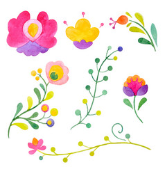 Watercolor abstract flowers vector