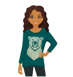 Woman in holiday sweater vector