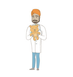 Young indian pediatrician holding teddy bear vector
