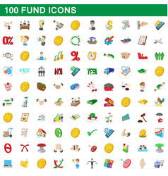 100 fund icons set cartoon style vector image vector image