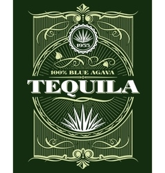 Vintage alcohol tequila drink bottle label vector