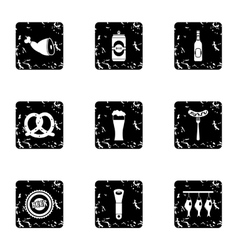 Alcohol icons set grunge style vector