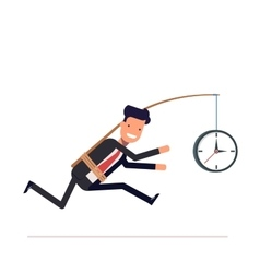 Businessman or tied clock manager runs the time vector