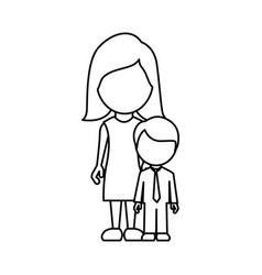 Silhouette woman with her son vector