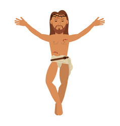 Jesus christ crucified sacred image vector