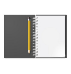 Realistic notebook with yellow pencil on white vector