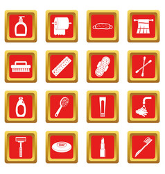 Hygiene tools icons set red vector