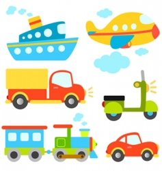 cartoon vehicles set vector image