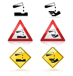 Warning for corrosive substances vector image