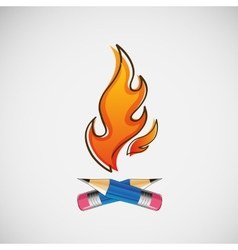 The fire which burn pencils design vector