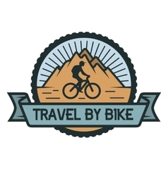 Traveling by bicycle emblem vector