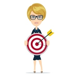 Businesswoman with dart and target vector