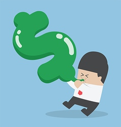Businessman blowing air into dollar shape balloon vector