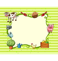 Border design with farm animals and things vector