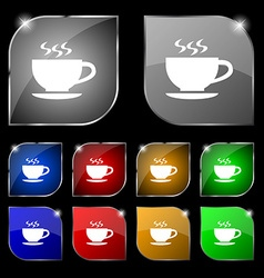 The tea and cup icon sign set of ten colorful vector