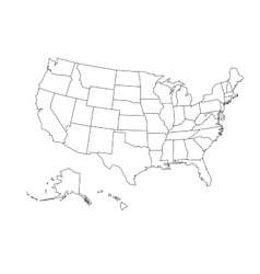 Blank outline map of USA vector image