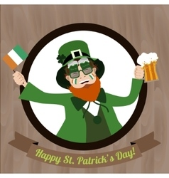 Green leprechaun with beer and irish flag vector