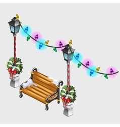 Two street lamp bench and colorful garland vector
