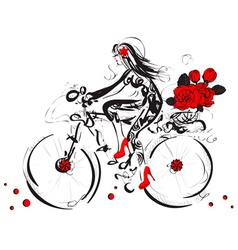 Sketch of a girl cycling with a basket of roses vector