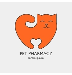 Single logo with a cat in a heart shape vector