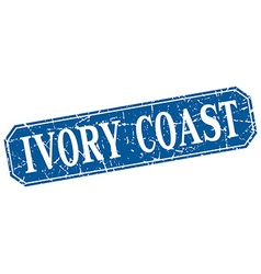 Ivory coast blue square grunge retro style sign vector
