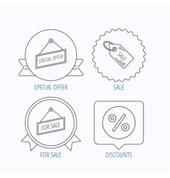 Special offer discounts and sale coupon icons vector