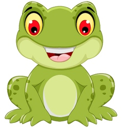 Funny frog cartoon sitting vector