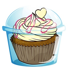 A cupcake inside the disposable container vector image vector image