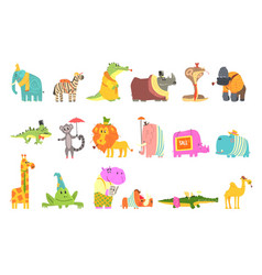 African animals with human attributes and clothing vector