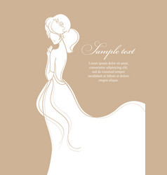 Beautiful bride on gold background vector