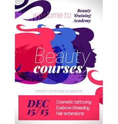 Beauty courses and training poster Beautiful vector image