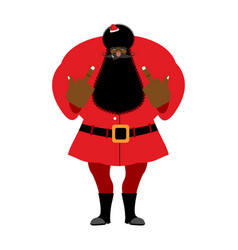 Big black bad santa claus shows to vector