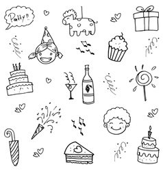 Birthday doodle party for kids vector