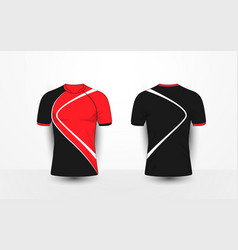 Black and red with white sport football t-shirt vector