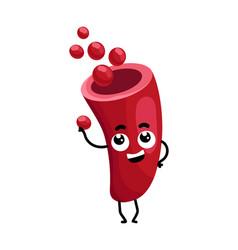 Blood vessel cute cartoon character vector
