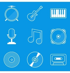 Blueprint icon set Music vector image vector image