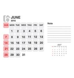 Calendar june 2015 vector