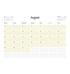 Calendar template for august 2016 week starts vector