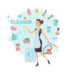 Colorful Cleaning Round Composition vector image vector image