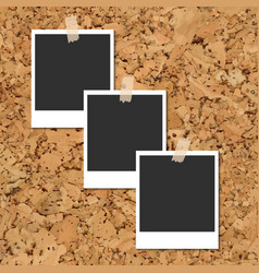 cork board with photo cards fixed by an vector image vector image