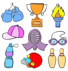 Doodle of various object sport equipment vector